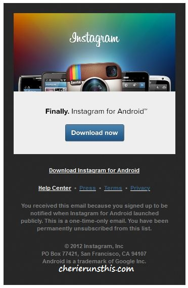 instagram availbable for Droids Androids